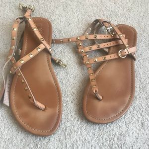 Shoes - Brown & Gold Rockstud Sandals